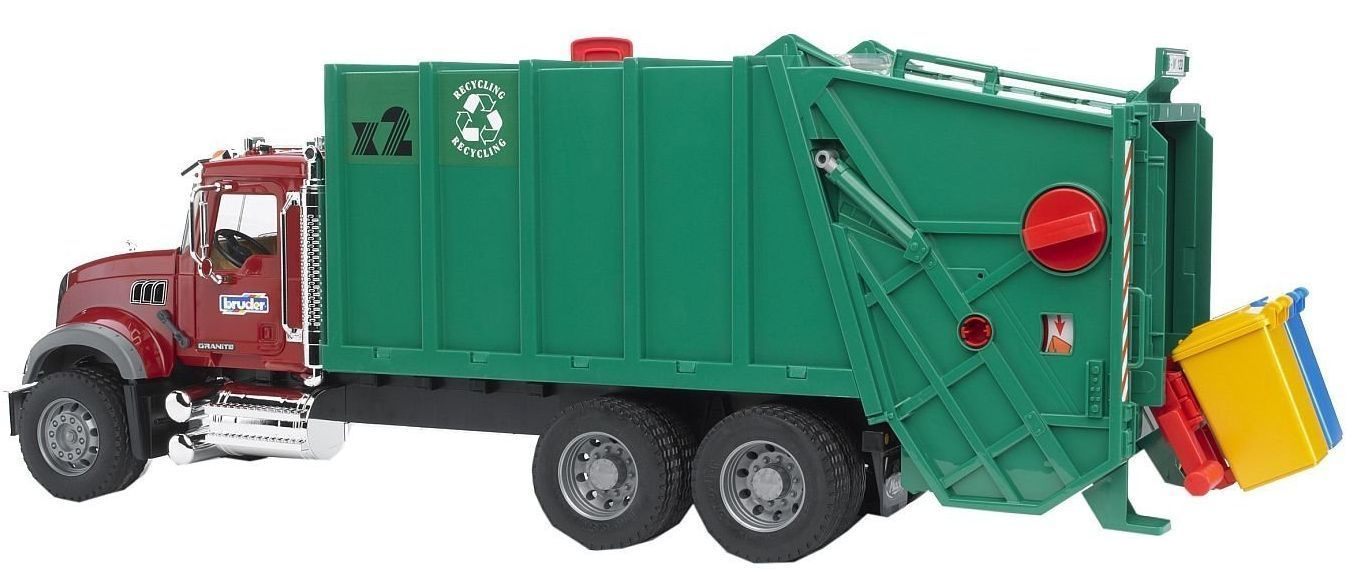 Bruder Toys Mack Granite Garbage Truck Ruby Red Green 02812 Kids Play New Garbage Truck Trucks Toy Trucks