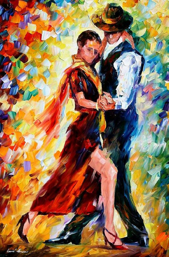 "Romantic Tango — PALETTE KNIFE Figure Oil Painting On Canvas By Leonid Afremov - Size: 24"" x 36"""