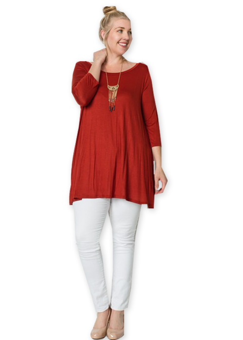 Plus Maroon A-Line Tunic