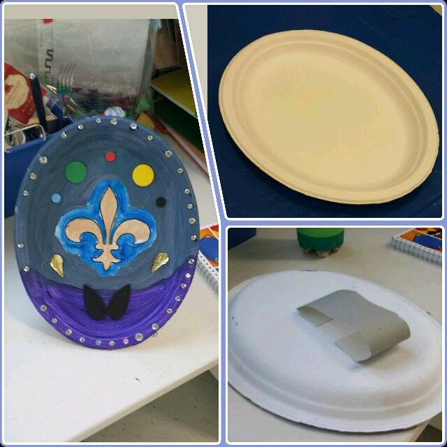 We used an oval chinet plate a hard durable paper and hot glued it to the back for them to hold. Use paint with glue and decorate. & Shields. We used an oval chinet plate a hard durable paper and hot ...