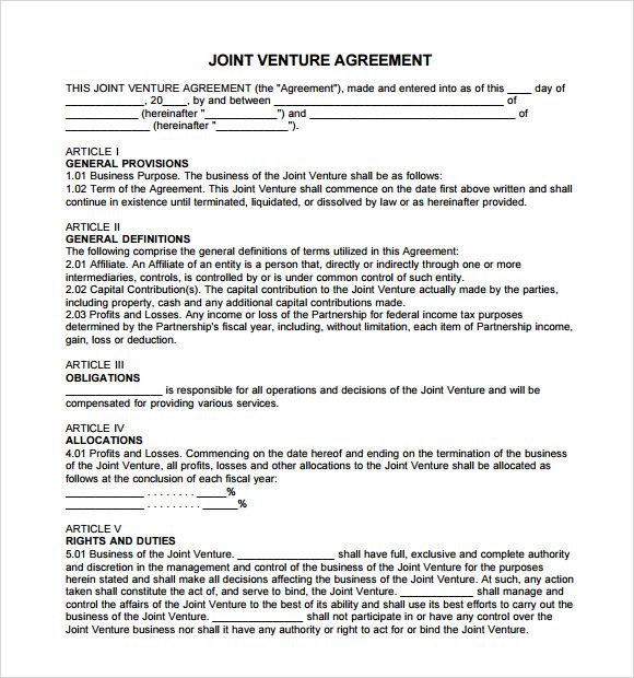 Joint Venture Partnership Agreement partnership Agreement - joint venture agreements sample