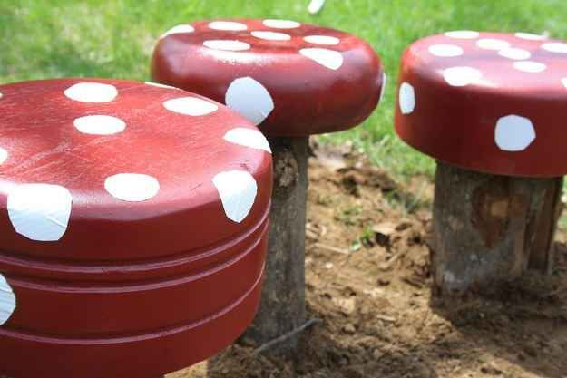 Make toadstools out of cut logs and repurposed wooden salad bowls (!!!).