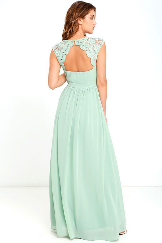 1589c6870e6 The romance is palpable when your start the evening off in the Novela Sage  Green Lace Maxi Dress! Floral lace shoulder straps lead into a scalloped  lace ...