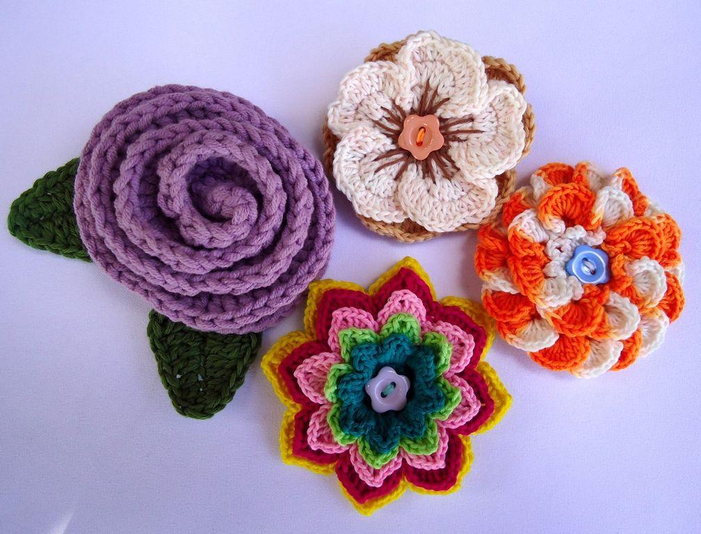Stitch Of Love Crochet Flower Brooches Butterflys Flowers