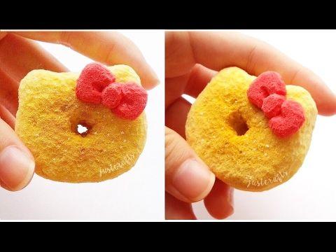 DIY Hello Kitty donut squishy using cosmetic sponges   homemade squish... DIY Squishy ...