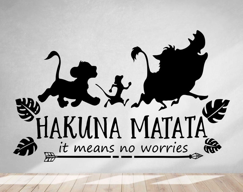 Hakuna Matata Wall Decal - No Worries Wall Decal, Lion ...