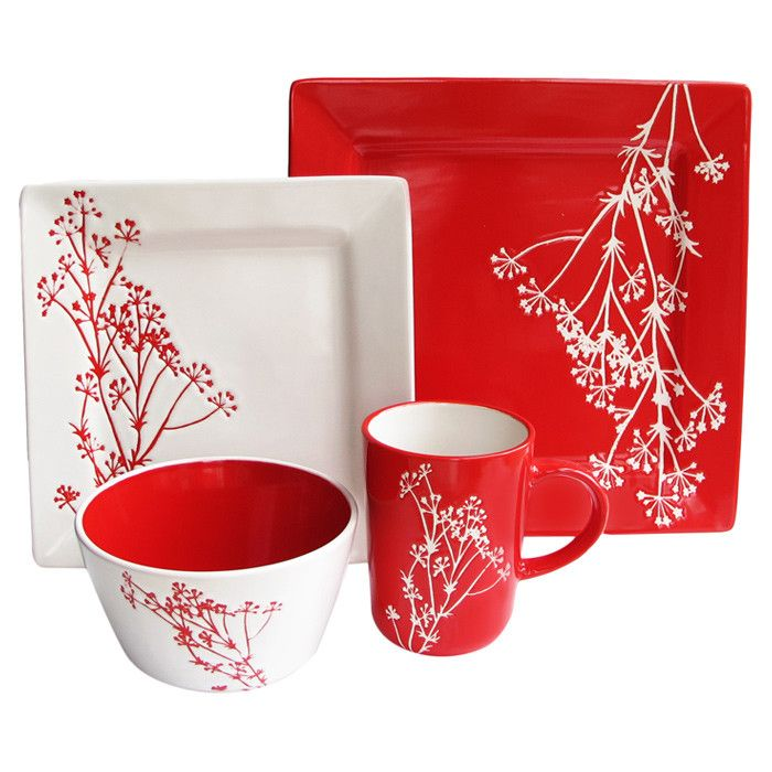 Leah Dinnerware Red And White Dinnerware Dinnerware Sets