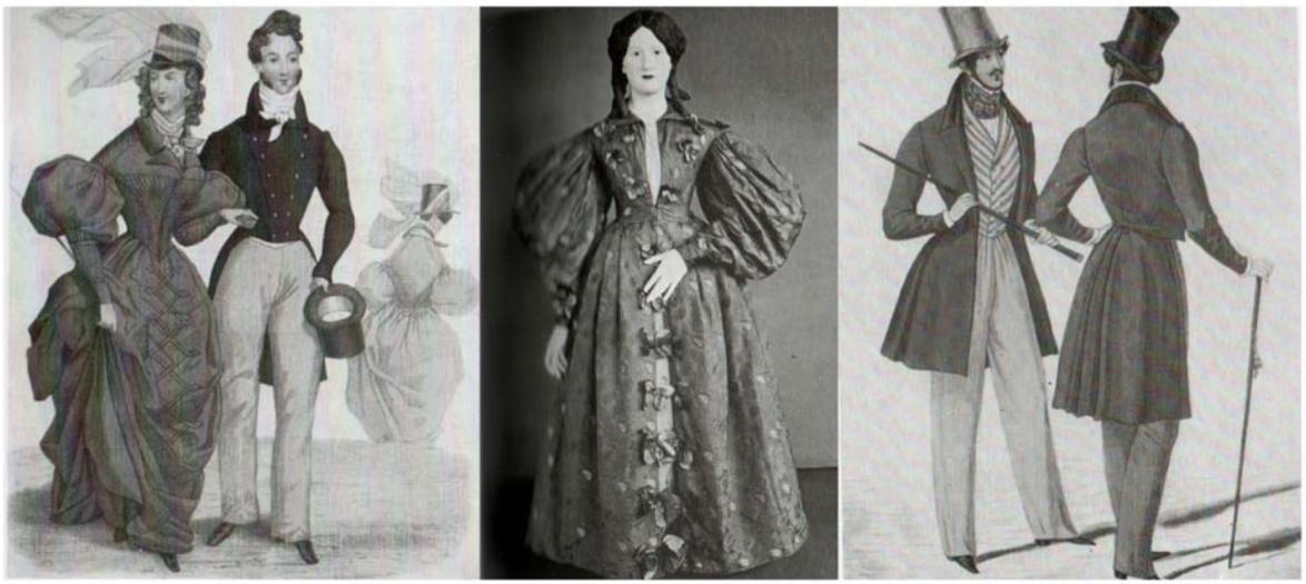 Trajes de montar masculino e feminino, de 1831;  Vestido peliça, brocado de seda, de 1831-33;  Trajes masculinos para o dia, de 1834