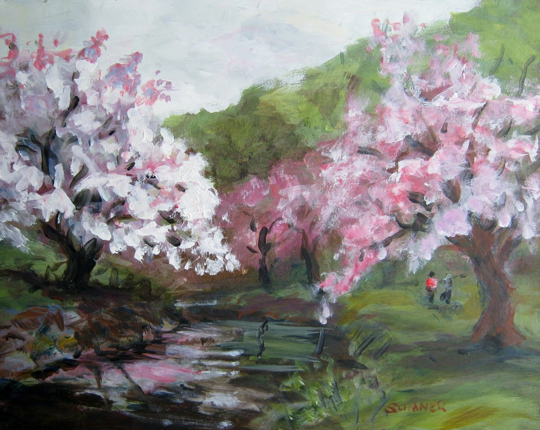 Spring Cherry Blossoms original acrylic landscape painting ...