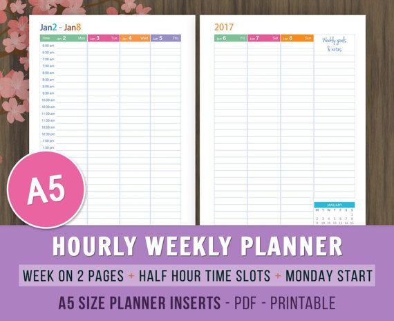 2017 Hourly Weekly Planner, A5 Filofax Inserts, Weekly Agenda