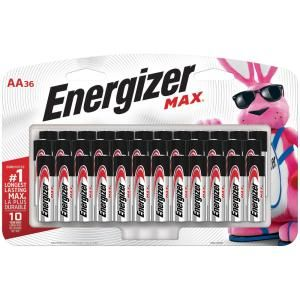 Energizer Max Aa Batteries 36 Pack Double A Alkaline Batteries E91sbp36h The Home Depot Energizer Stocking Stuffer Gifts Batteries