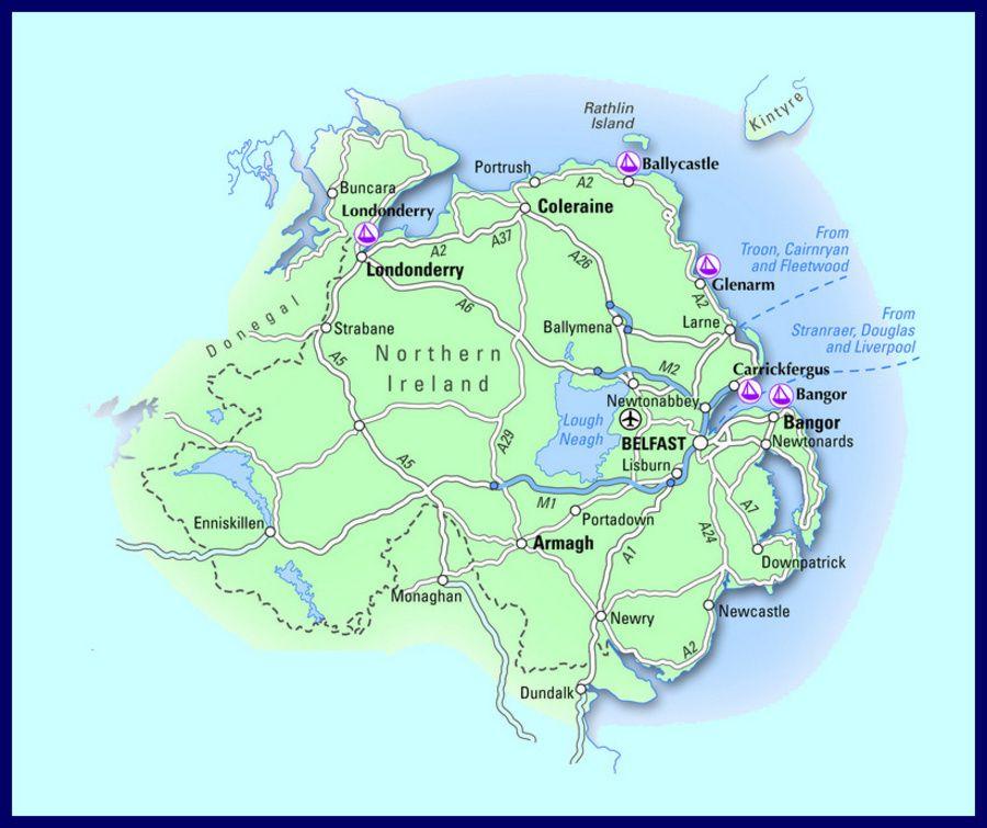 Road Map Of Northern Ireland.Map Of Carrickfergus Ireland Street In Belfast North Ireland