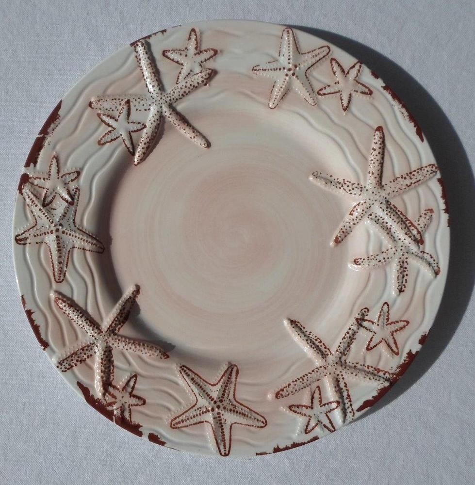 Tropical Coastal Starfish Rustic Beach 4 pc Embossed Melamine Side Salad Plates #GalleywareCompany : starfish dinnerware - pezcame.com