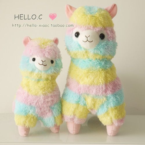 Japanese rainbow alpacasso large rainbow alpaca animal mud horse dolls plush toys - Taobao