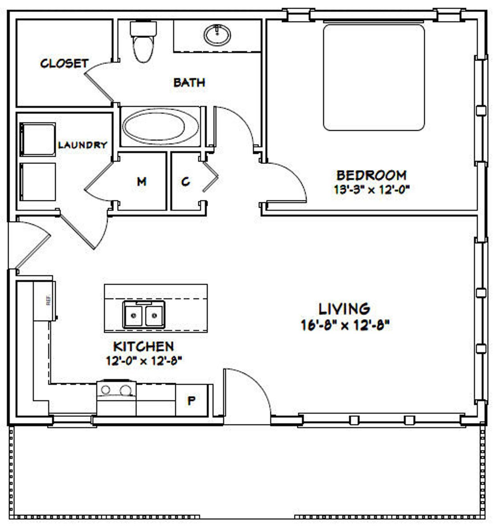 30x26 House 1-Bedroom 1-Bath 780 sq ft PDF Floor Plan