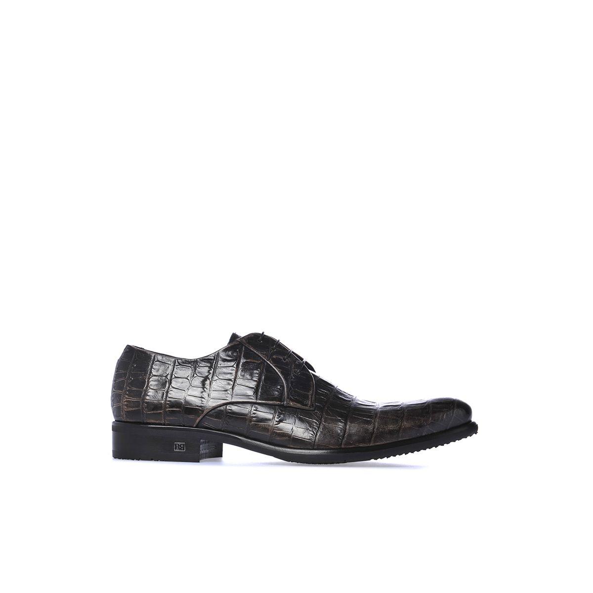 Baldinini Man Collection: Derby shoes in dark blue printed crocodile #DerbyShoes #Baldinini