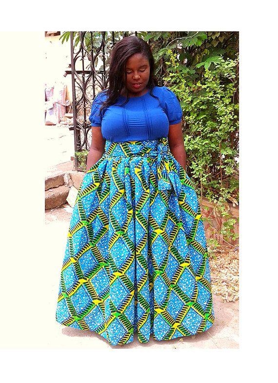 Lisa Maxi Rock mit Taschen afrikanischen print von FashAfrique ...