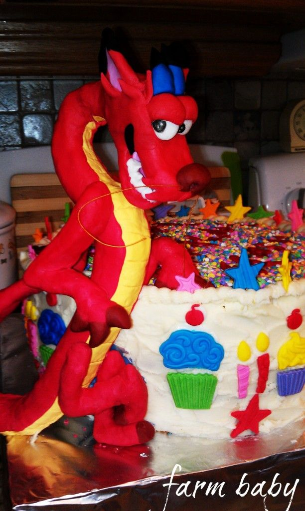 Mushu the dragon birthday cake and treats Farmbaby Pinterest