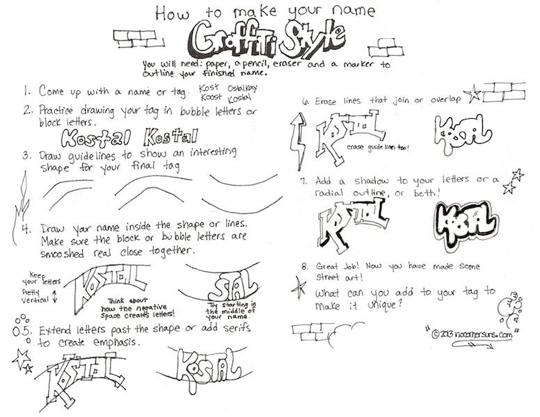 Here Is My How To Write Your Name Graffiti Style Handout Graffiti Belettering Kunsteducatie Graffiti
