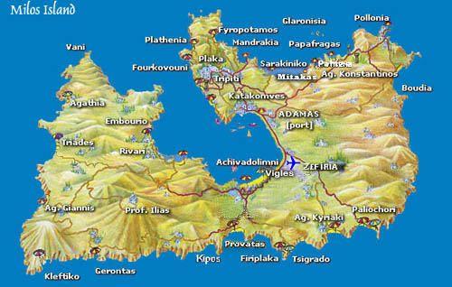Grecia Greece ☼ Cyclades Island Milos Milos Map Grecia