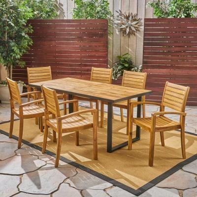 Noble House Alderson Teak Brown 7 Piece Wood Outdoor Dining Set Outdoor Dining Set Outdoor Dining Acacia Wood