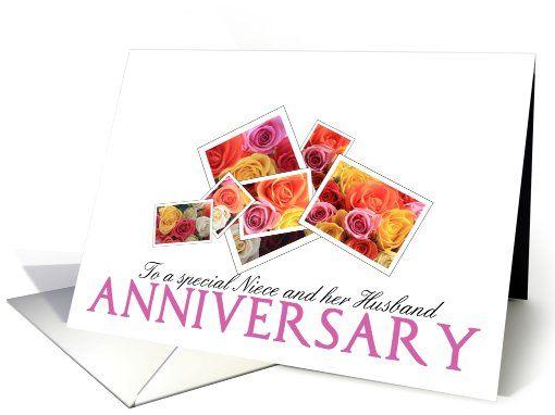 Anniversary Niece & Husband, Mixed Rose Bouquet Card