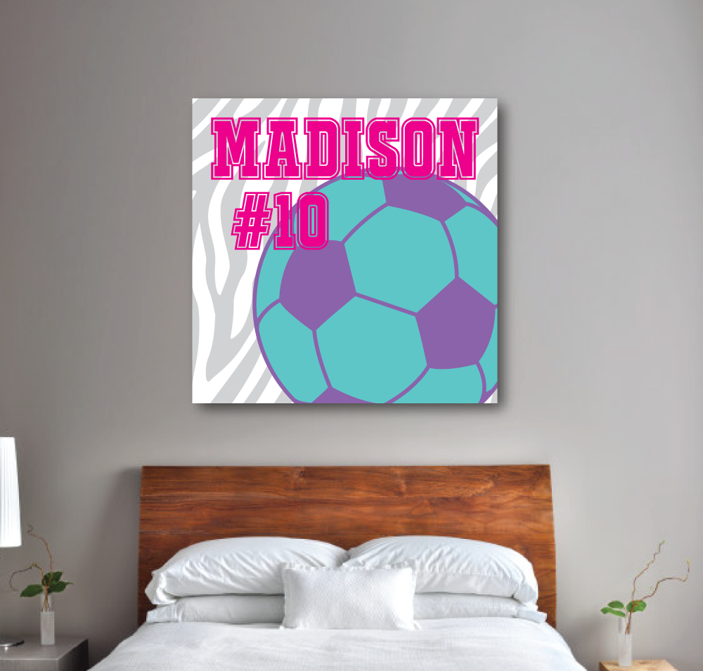 Zebra Print Soccer Balll Canvas - Monogrammed Name and Jersey ...
