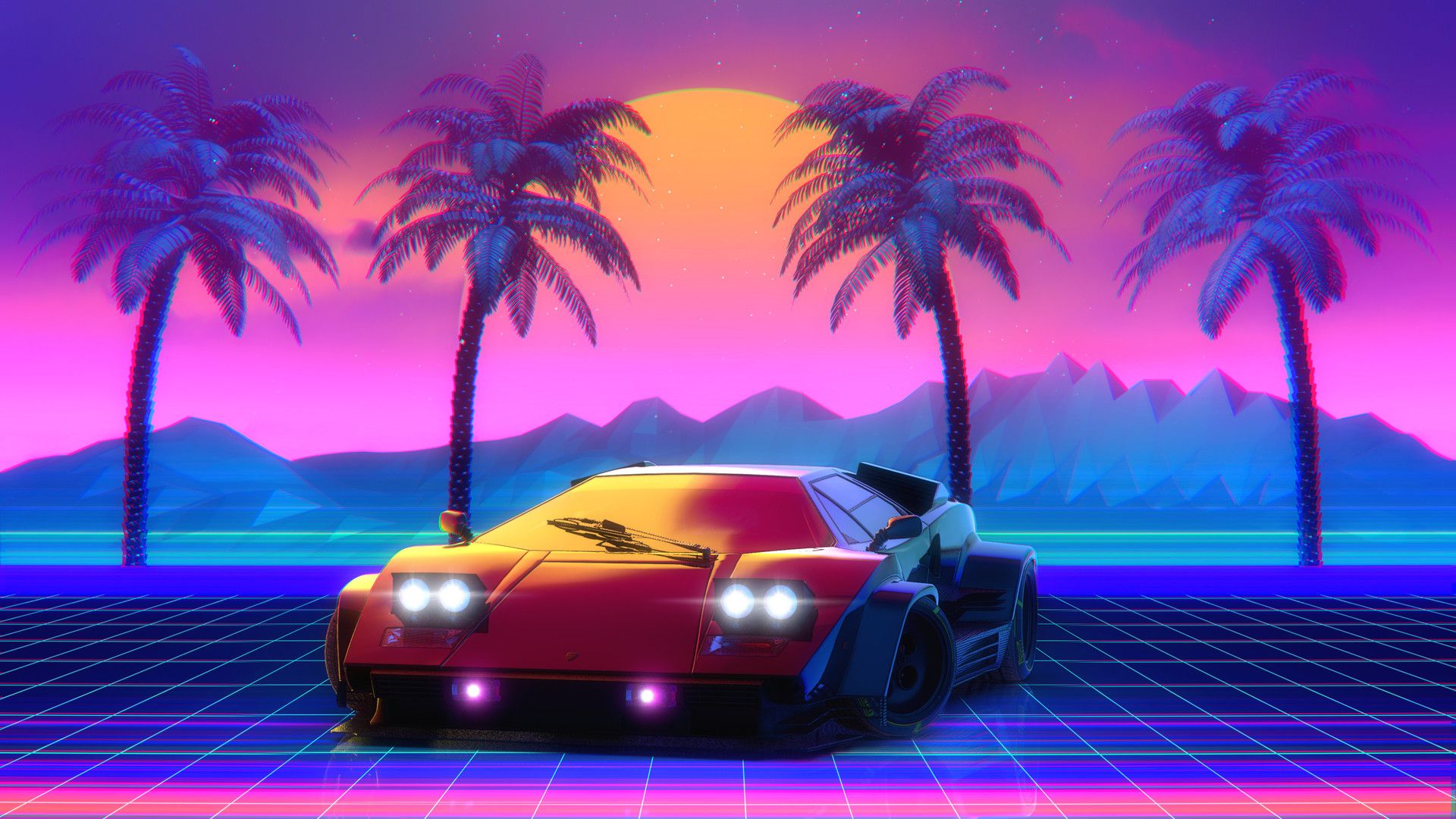Synthwave / Countach / Palm trees / Sun