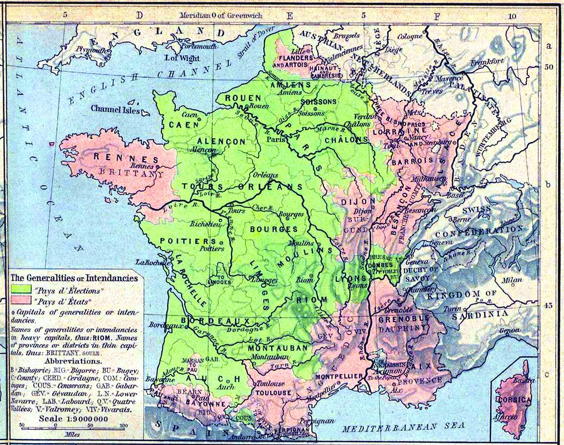 Map France Generalities In 1789 Carte De France Des Generalites En
