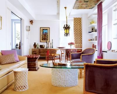 Colorful Eclectic Beautiful Global Chic Living Room From Elle