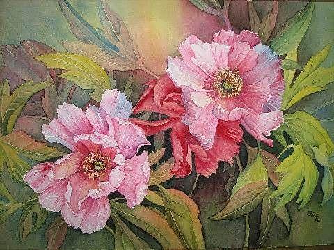 """Kerstin Birk, """"Päonien"""" (1) / 2008  Mit einem Klick auf 'Als Kunstkarte versenden' versenden Sie kostenlos dieses Werk Ihren Freunden und Bekannten."""