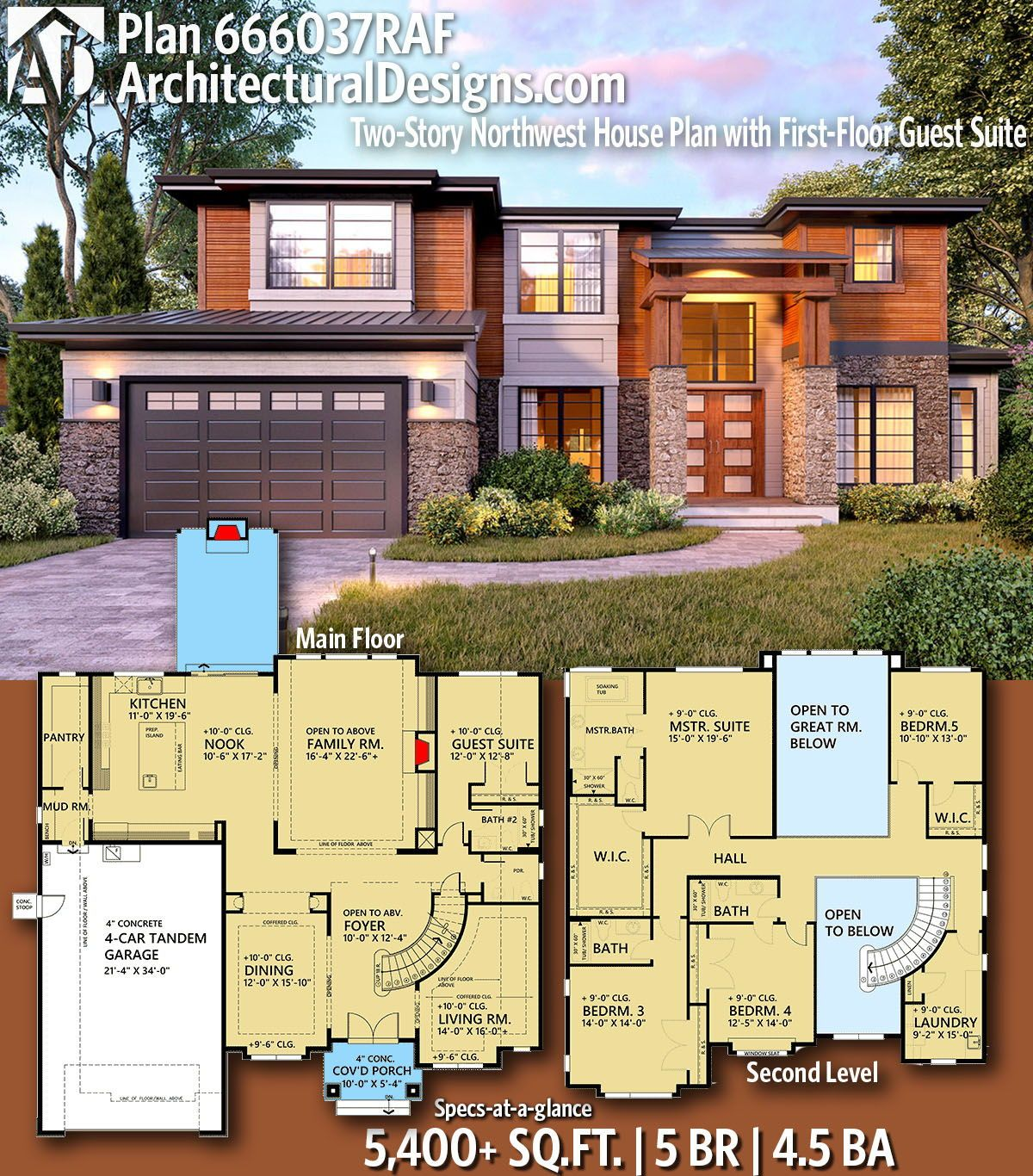 Plan 666037raf Two Story Northwest House Plan With First Floor Guest Suite In 2020 Sims House Plans House Plans Modern House Exterior