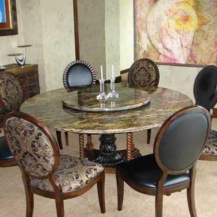 Round Granite Dining Table Set In Clic Design