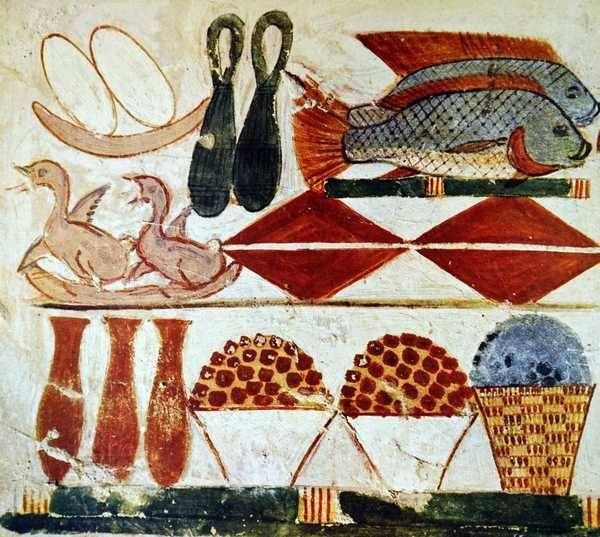 Various Foods Depicted In A Burial Chamber Tomb Ancient Egyptian Paintings Ancient Egyptian Art Ancient Egyptian Food