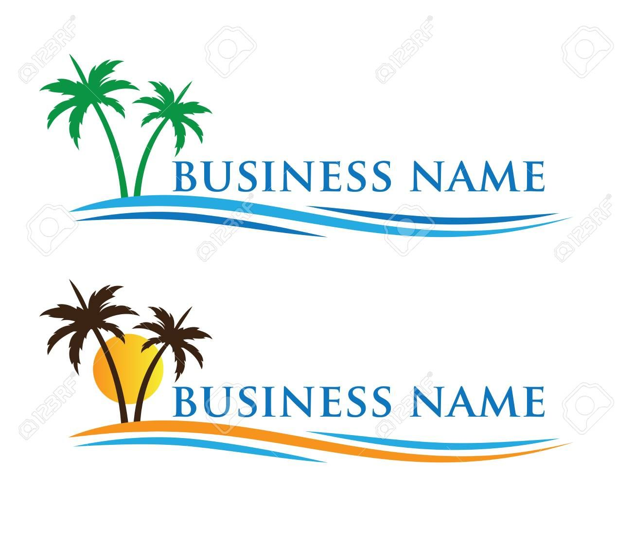 hotel tourism holiday summer beach coconut palm tree vector logo design for resort home stay hospit