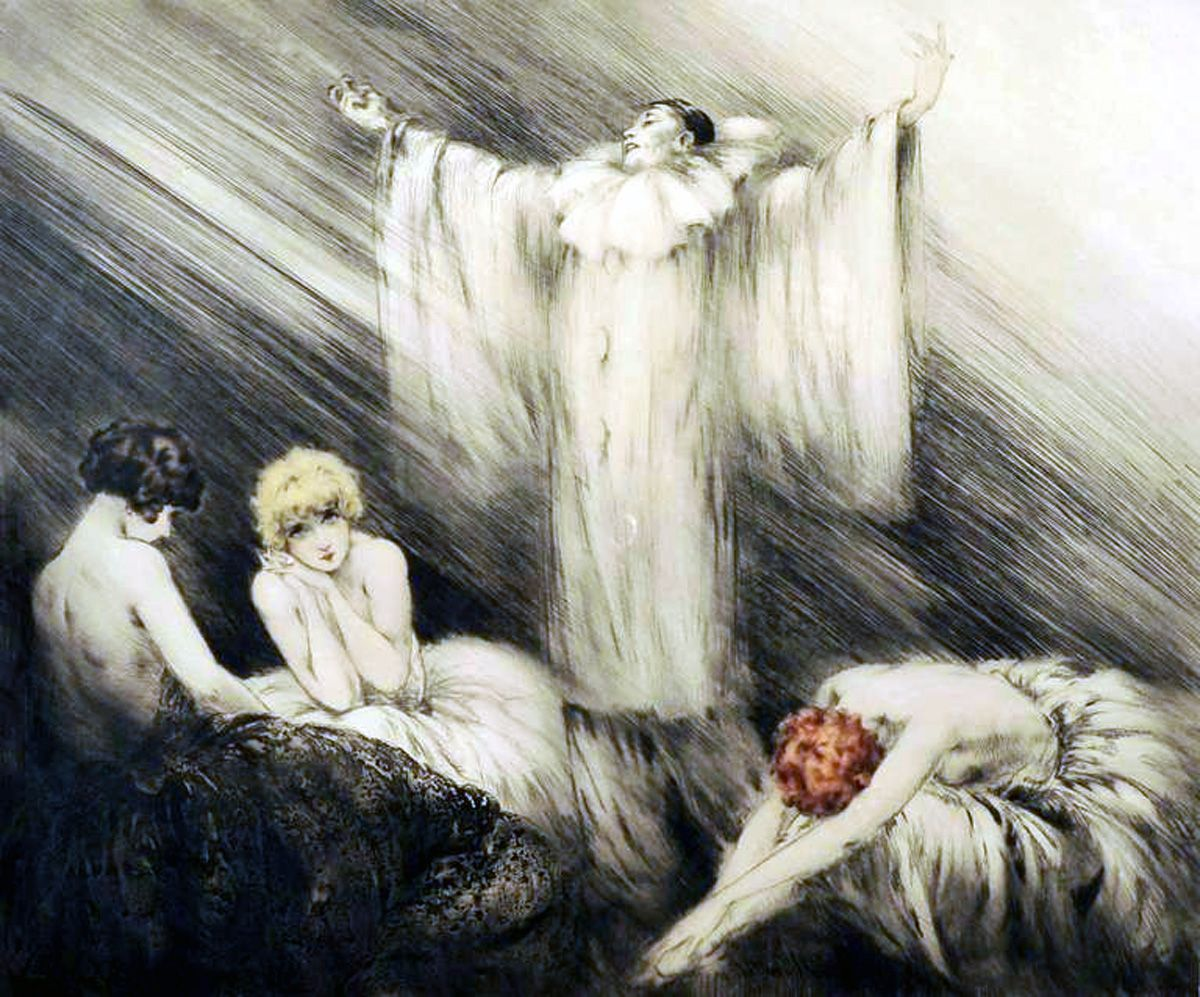 Le Poeme The Poem By Louis Icart French Etching Lithograph 1928 Thepoem Louisicart Clown Images Art Art Deco Period