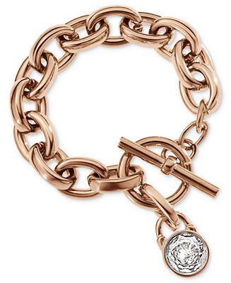 Michael Kors Bracelet Rose GoldTone Crystal Padlock Charm Bracelet