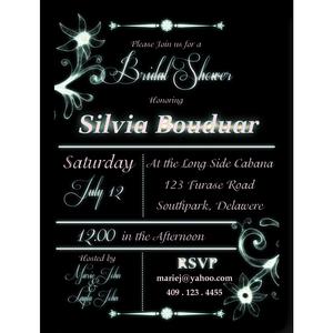 Bridal Shower Invitation Black - White Cyon Text, Black Background, Mystical Flowers, DIY Printable 5x7 or 4x6 (2)