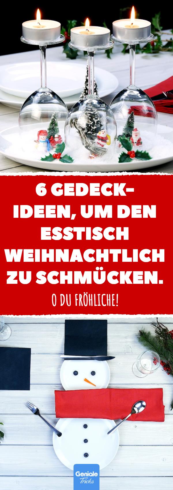 6 Gedeck-Ideen, um den Esstisch weihnachtlich zu schmücken.