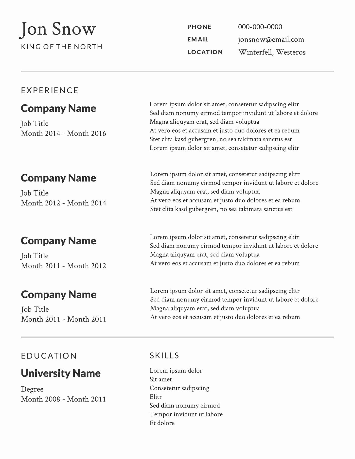 Professional Resume Template Free Fresh Free Simple or