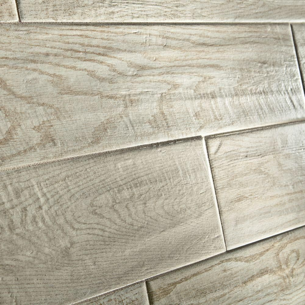 MARAZZI Montagna White Wash 6 in. x 24 in. Glazed Porcelain Floor and Wall  Tile (14.53 sq. ft. / case) - MARAZZI Montagna White Wash 6 In. X 24 In. Glazed Porcelain Floor