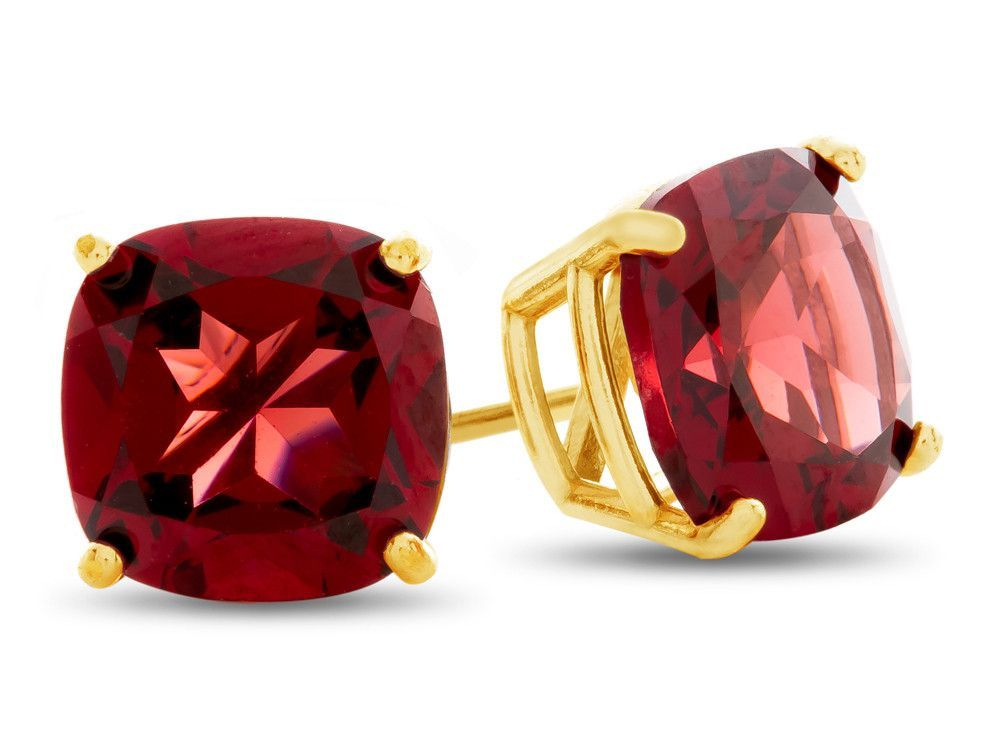 7x7mm Cushion Garnet Post-With-Friction-Back Stud Earrings