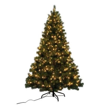 7 Ft Noble Fir Quick Set Artificial Christmas Tree With 500 Clear Lights W14l0467 The Home Depot Pre Lit Christmas Tree Christmas Tree Christmas Tree Shop