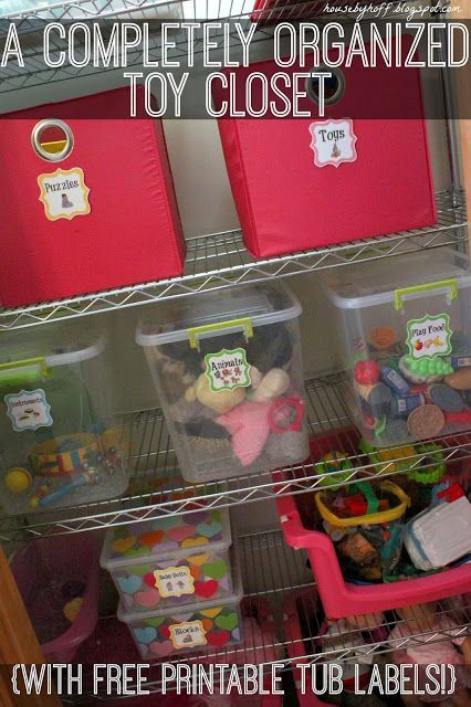 A completely organized toy closet with free printable Closet toy storage ideas