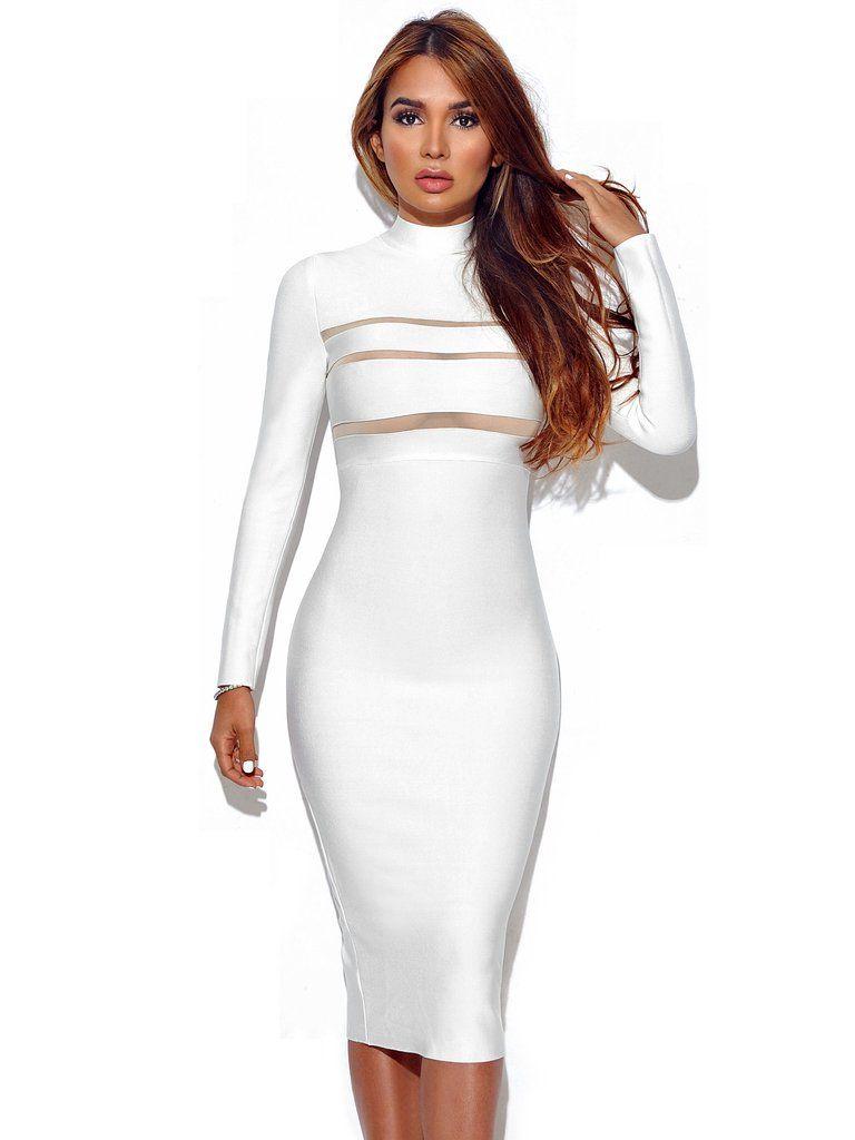 Giorgia Winter White Long Sleeve Bandage Dress 7 My Style High