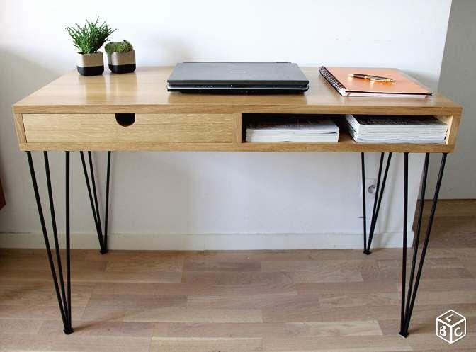bureau bois massif métal épingle design sur mesure | proyectos que