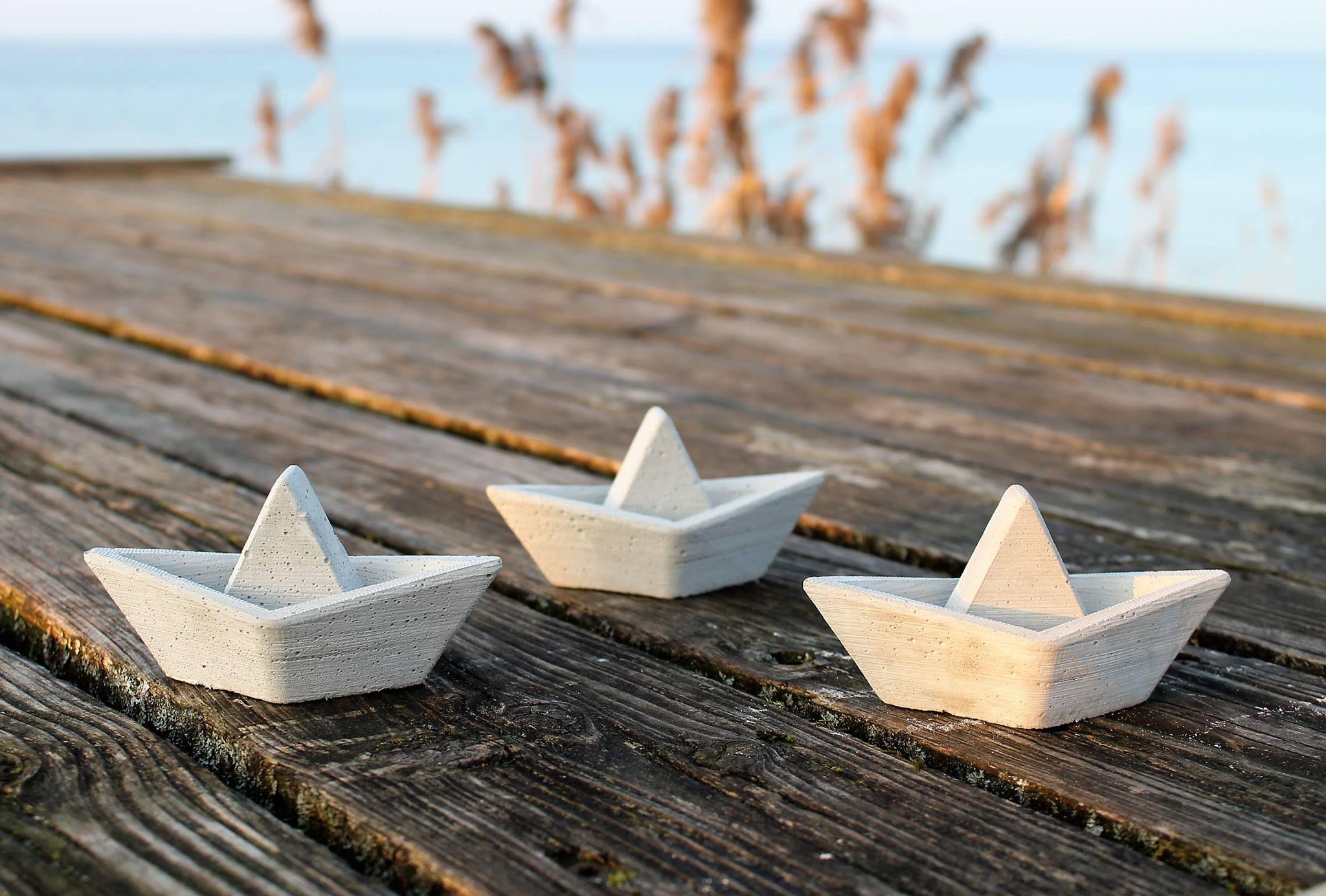 Böötchen, Boote, Papierboot, Beton, Beton gießen, Meerweh ...