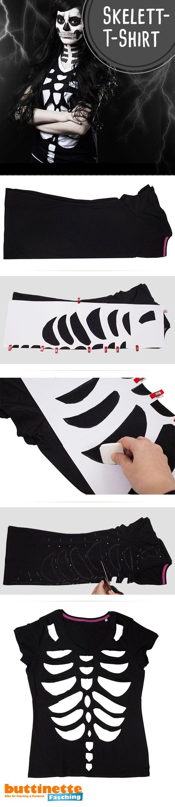 ein skelettshirt last minute halloween kost m zum. Black Bedroom Furniture Sets. Home Design Ideas