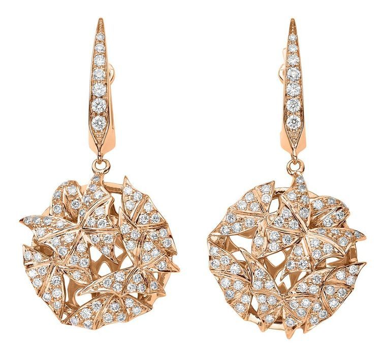 71bff5943308 Fly by Night Mothball earrings in 18k rose gold with white diamonds by  jeweller Stephen Webster from his Fly by Night jewellery collection