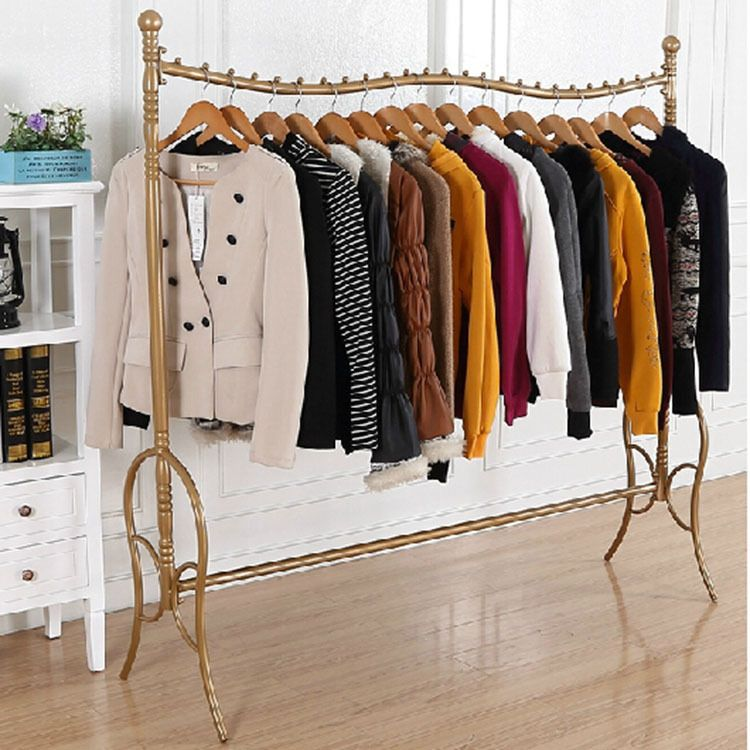 Floor Iron Frame High Grade Gold Vintage Clothing Boutiques Wholesale Clothing Racks Display Stan Clothing Rack Clothing Rack Display Vintage Clothing Boutique